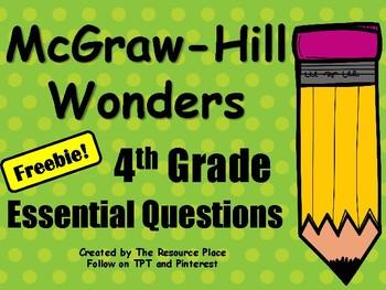 Wonders 4th Grade Essential Questions- Freebie!