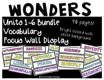 Wonders 4th Grade Focus Wall Vocabulary Display BUNDLE - Units 1-6