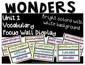 Wonders 4th Grade Focus Wall Vocabulary Display - Unit 2