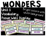 Wonders 4th Grade Focus Wall Vocabulary Display - Unit 2