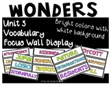 Wonders 4th Grade Focus Wall Vocabulary Display - Unit 3