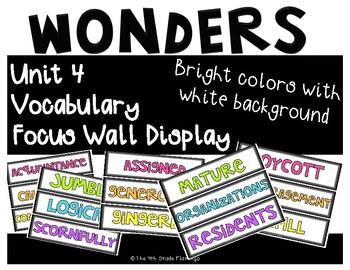 Wonders 4th Grade Focus Wall Vocabulary Display - Unit 4