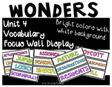 Wonders 4th Grade Focus Wall Vocabulary Display - Unit 4