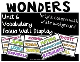 Wonders 4th Grade Focus Wall Vocabulary Display - Unit 6