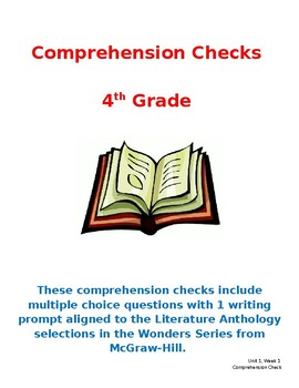 Wonders 4th Grade Literature Anthology Comprehension Checks- Unit 3