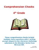 Wonders 4th Grade Literature Anthology Comprehension Checks- Units 1 - 4