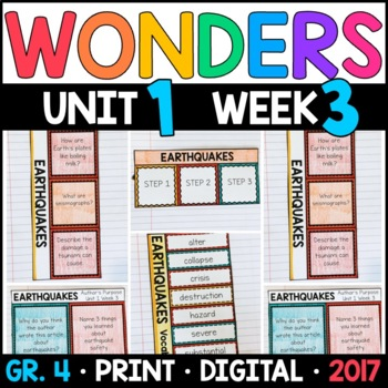 Wonders 4th Grade, Unit 1 Week 3: Earthquakes Interactive Supplements