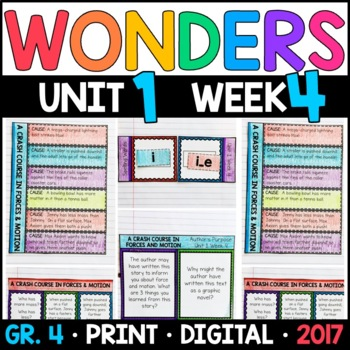 Wonders 4th Grade, Unit 1 Week 4: A Crash Course in Forces & Motion Supplements