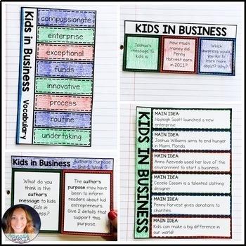 Wonders 4th Grade, Unit 1 Week 5: Kids in Business Interactive Supplements