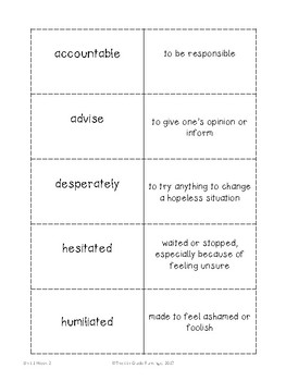 Wonders 4th Grade Vocabulary Flash Cards - Unit 1