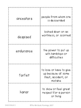 Wonders 4th Grade Vocabulary Flash Cards - Unit 6 by The 4th Grade ...