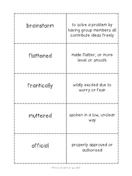 Wonders 4th Grade Vocabulary Flash Cards - Unit 1 Week 1