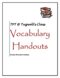 Wonders 4th Grade Vocabulary Handouts UNITS 1-6