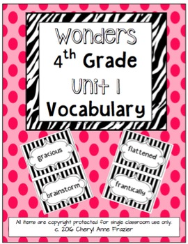 Wonders 4th Grade Vocabulary Words - Unit 1