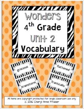 Wonders 4th Grade Vocabulary Words - Unit 2