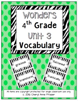 Wonders 4th Grade Vocabulary Words - Unit 3