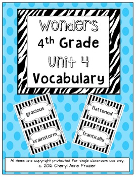 Wonders 4th Grade Vocabulary Words - Unit 4