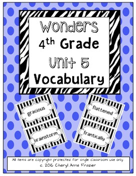 Wonders 4th Grade Vocabulary Words - Unit 5