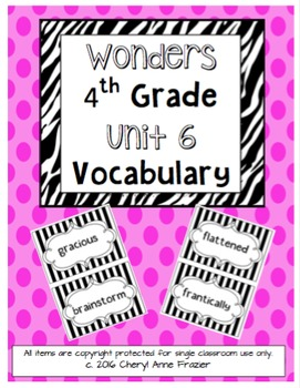 Wonders 4th Grade Vocabulary Words - Unit 6