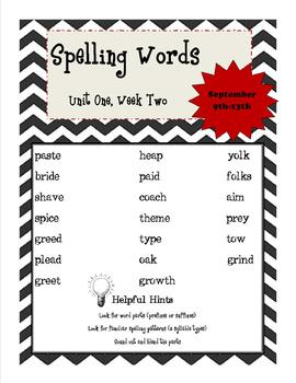 Wonders 5th Grade Spelling List Unit 1, Week 2