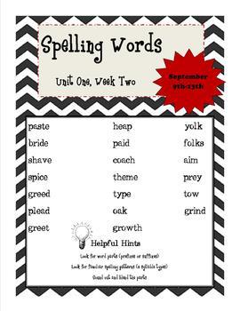 Wonders 5th Grade Spelling List Unit 1, Week 2