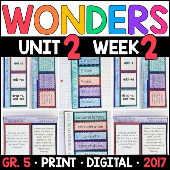 Wonders 5th Grade, Unit 2 Week 2: Where the Mountain Meets the Moon Supplements