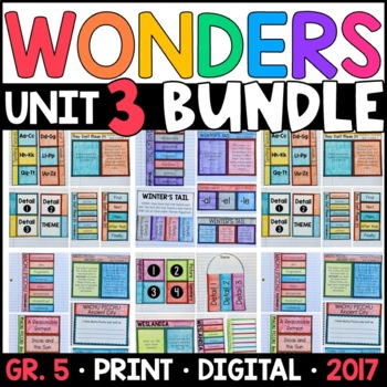 Wonders 5th Grade Unit 3 BUNDLE: Interactive Notebook Pages and Supplements
