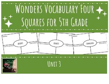 Wonders 5th Grade Unit 3 Vocabulary Four Squares