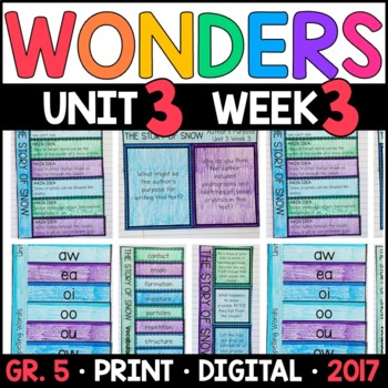 Wonders 5th Grade, Unit 3 Week 3: The Story of Snow Interactive Supplements