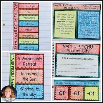 Wonders 5th Grade, Unit 3 Week 5: Machu Picchu, Ancient City Supplements