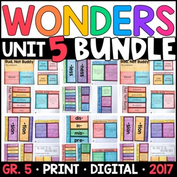Wonders 5th Grade Unit 5 BUNDLE: Interactive Notebook Pages and Supplements