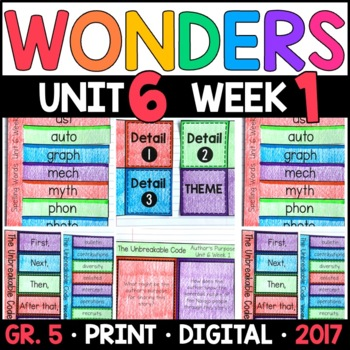 Wonders 5th Grade, Unit 6 Week 1: The Unbreakable Code Interactive Supplements
