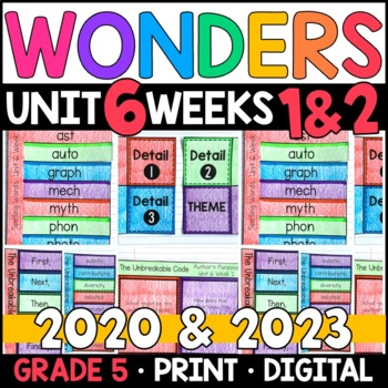 Wonders 2020 5th Grade, Unit 6 Weeks 1 and 2 : The Unbreakable Code Supplements