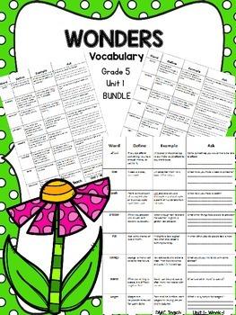Wonders 5th Grade Vocabulary Bundle Unit-1