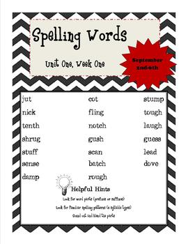 wonders 5th grade spelling list unit 1 week 1 by marci lord tpt. Black Bedroom Furniture Sets. Home Design Ideas