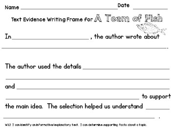 Wonders A Team of Fish Text Evidence Writing Frame