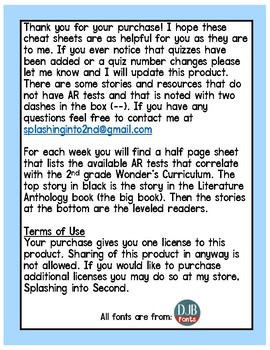 Wonders AR Cheat Sheet: Unit 4