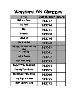 Wonders AR Quiz Tracker