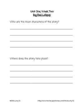 Wonders Anthology Text Dependent Questions, Grade 2 Unit 1