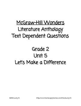 Wonders Anthology Text Dependent Questions, Grade 2 Unit 5