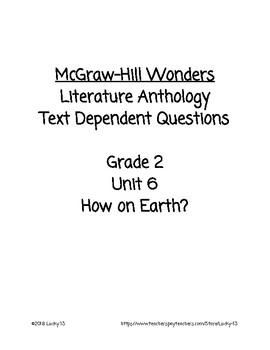 Wonders Anthology Text Dependent Questions, Grade 2 Unit 6