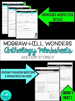 Wonders Anthology Worksheets - GRADE 4, UNIT 1