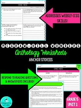 **UPDATED FOR 2018** Wonders Anthology Worksheets - GRADE 5, UNIT 1