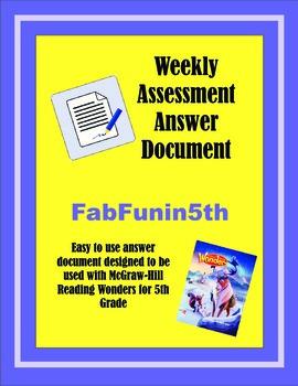 Wonders Assessment Document 3rd - 5th Grade