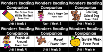 Wonders BUNDLE Unit 1 Weeks 1-6 POWER POINTS. First Grade