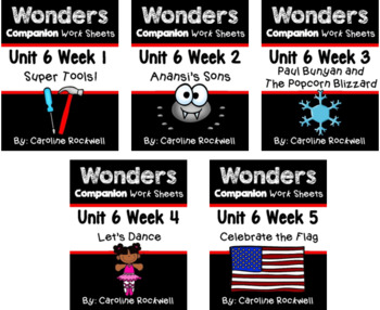 Wonders BUNDLE Unit 6 Weeks 1-5 Worksheets/Centers. First Grade.