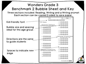 Wonders Benchmark 2, GRADE 3 Bubble sheet and Key-streamline testing!