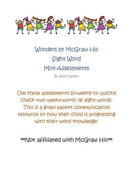 Wonders Bi-Weekly Mini Sight Word Assessments- 1st Grade