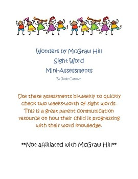 Wonders Bi-Weekly Mini Sight Word Assessments- 2nd Grade