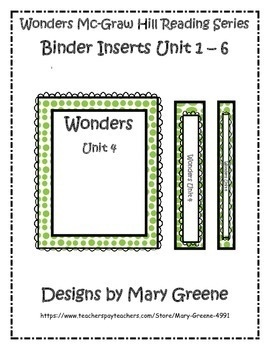 Wonders Binder Inserts Units 1-6 for All Grades